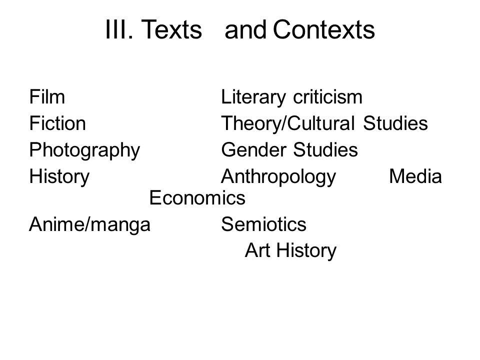 III. TextsandContexts FilmLiterary criticism FictionTheory/Cultural Studies PhotographyGender Studies HistoryAnthropologyMedia Economics Anime/mangaSe