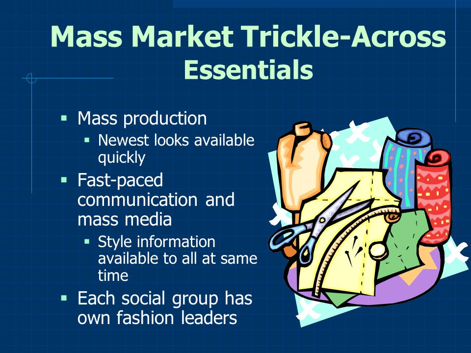 Mass Market Trickle-Across Essentials Mass production Newest looks available quickly Fast-paced communication and mass media Style information availab