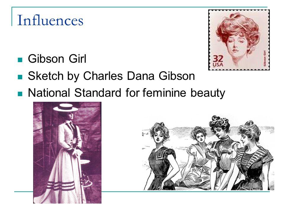 Influences Gibson Girl Sketch by Charles Dana Gibson National Standard for feminine beauty