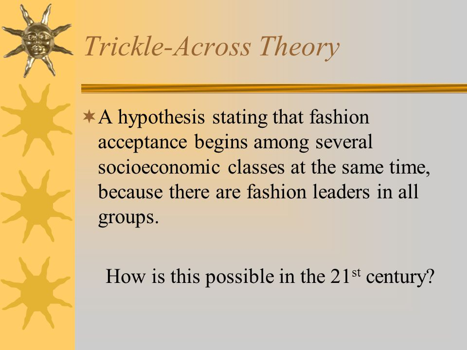 Trickle-Across Theory A hypothesis stating that fashion acceptance begins among several socioeconomic classes at the same time, because there are fashion leaders in all groups.