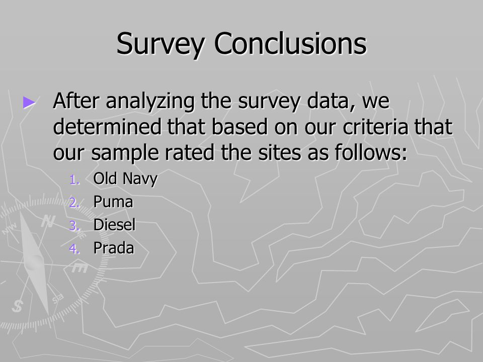 Survey Conclusions After analyzing the survey data, we determined that based on our criteria that our sample rated the sites as follows: After analyzing the survey data, we determined that based on our criteria that our sample rated the sites as follows: 1.