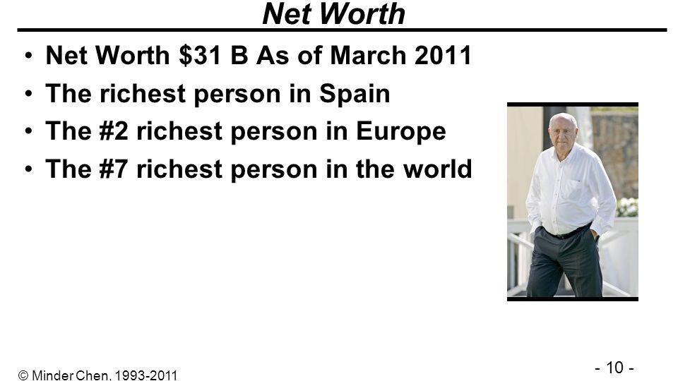 - 10 - © Minder Chen, 1993-2011 Net Worth Net Worth $31 B As of March 2011 The richest person in Spain The #2 richest person in Europe The #7 richest