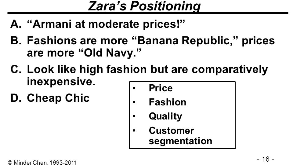 - 16 - © Minder Chen, 1993-2011 Zaras Positioning A.Armani at moderate prices! B.Fashions are more Banana Republic, prices are more Old Navy. C.Look l