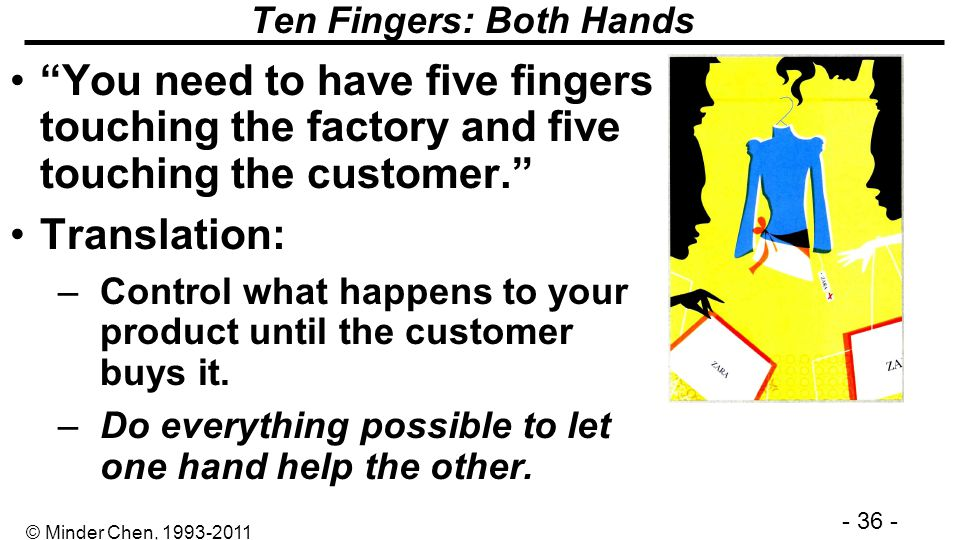 - 36 - © Minder Chen, 1993-2011 Ten Fingers: Both Hands You need to have five fingers touching the factory and five touching the customer. Translation