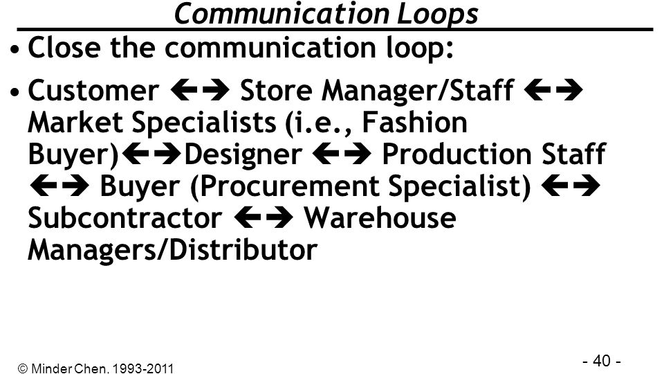 - 40 - © Minder Chen, 1993-2011 Communication Loops Close the communication loop: Customer Store Manager/Staff Market Specialists (i.e., Fashion Buyer