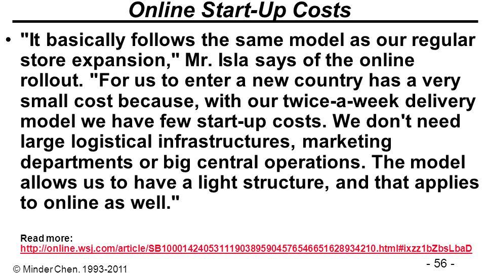 - 56 - © Minder Chen, 1993-2011 Online Start-Up Costs