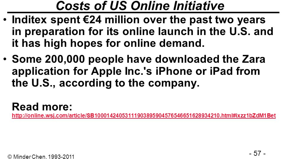 - 57 - © Minder Chen, 1993-2011 Costs of US Online Initiative Inditex spent 24 million over the past two years in preparation for its online launch in