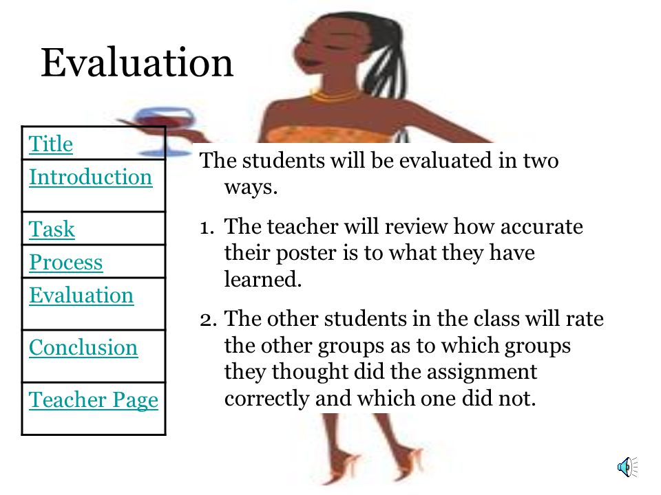 Title Introduction Task Process Evaluation Conclusion Teacher Page Evaluation The students will be evaluated in two ways.