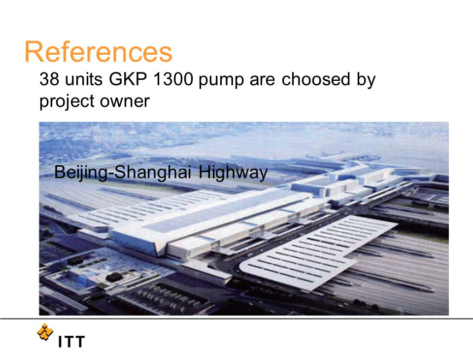 38 units GKP 1300 pump are choosed by project owner Beijing-Shanghai Highway References