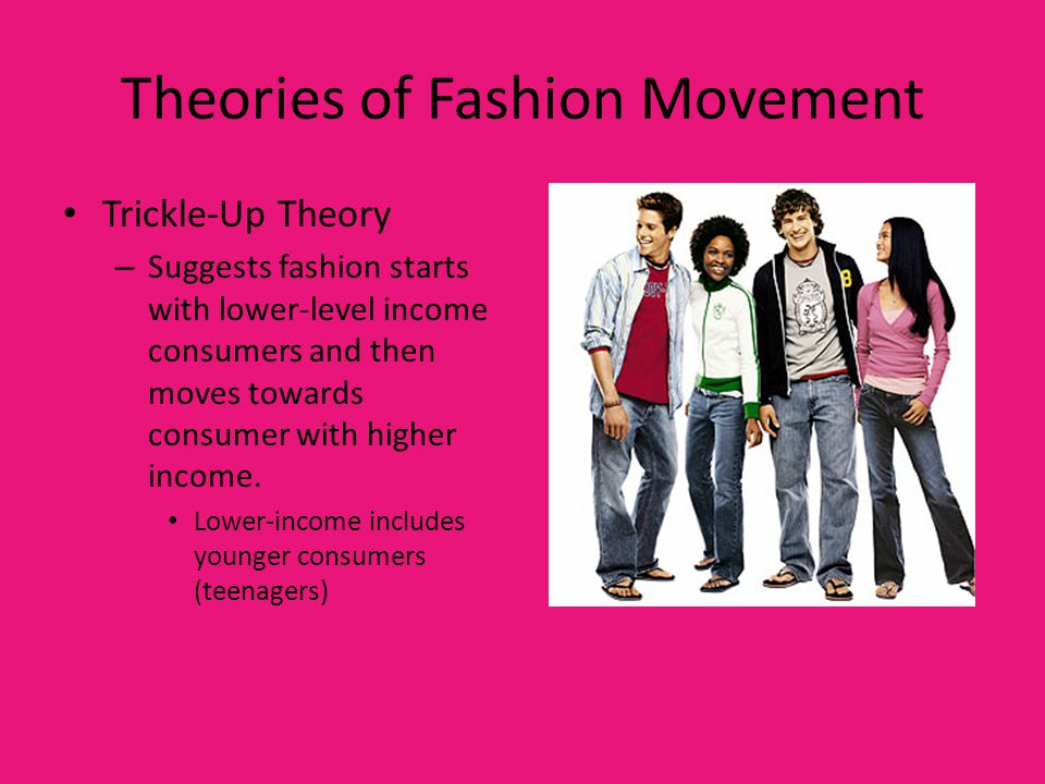 Theories of Fashion Movement Trickle-Up Theory – Suggests fashion starts with lower-level income consumers and then moves towards consumer with higher