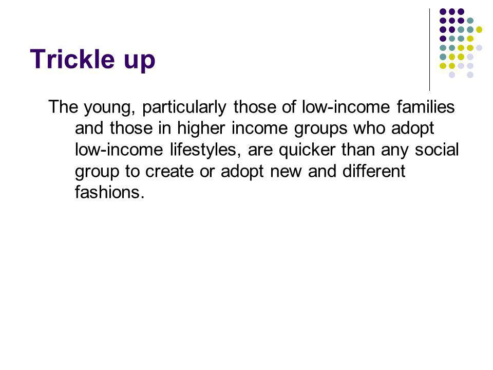 Trickle up The young, particularly those of low-income families and those in higher income groups who adopt low-income lifestyles, are quicker than any social group to create or adopt new and different fashions.