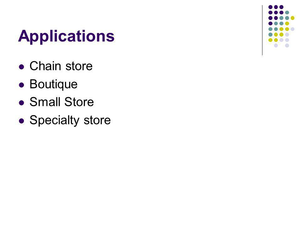 Applications Chain store Boutique Small Store Specialty store