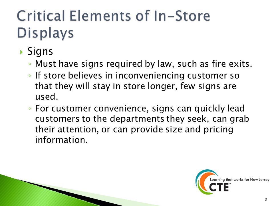 Lighting Impacts the image of the entire store and is used to focus the customer.