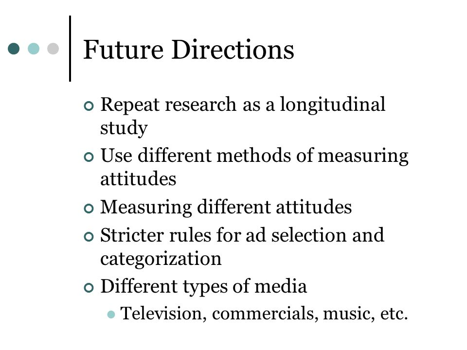Future Directions Repeat research as a longitudinal study Use different methods of measuring attitudes Measuring different attitudes Stricter rules fo