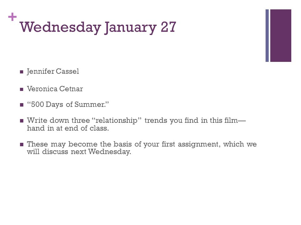 + Wednesday January 27 Jennifer Cassel Veronica Cetnar 500 Days of Summer.