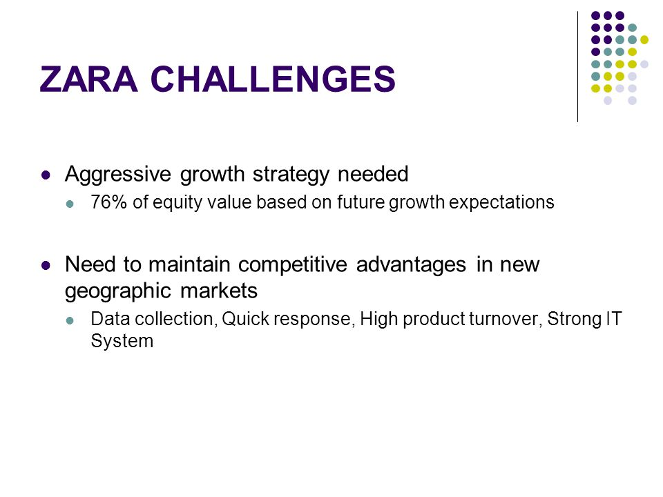 ZARA CHALLENGES Aggressive growth strategy needed 76% of equity value based on future growth expectations Need to maintain competitive advantages in n