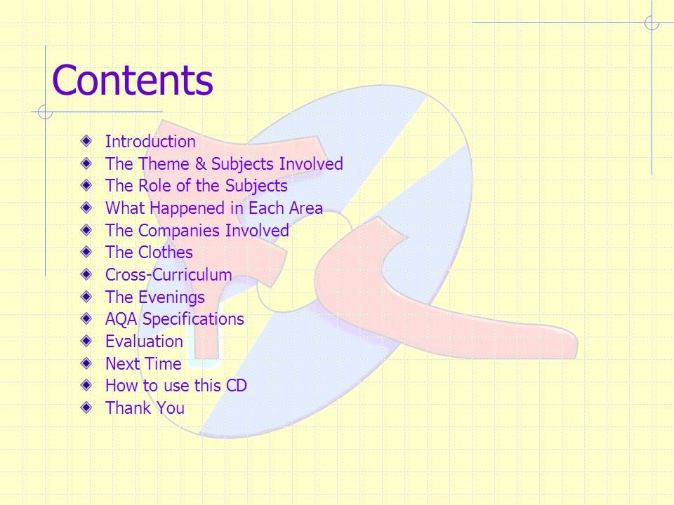 Contents Introduction The Theme & Subjects Involved The Role of the Subjects What Happened in Each Area The Companies Involved The Clothes Cross-Curriculum The Evenings AQA Specifications Evaluation Next Time How to use this CD Thank You