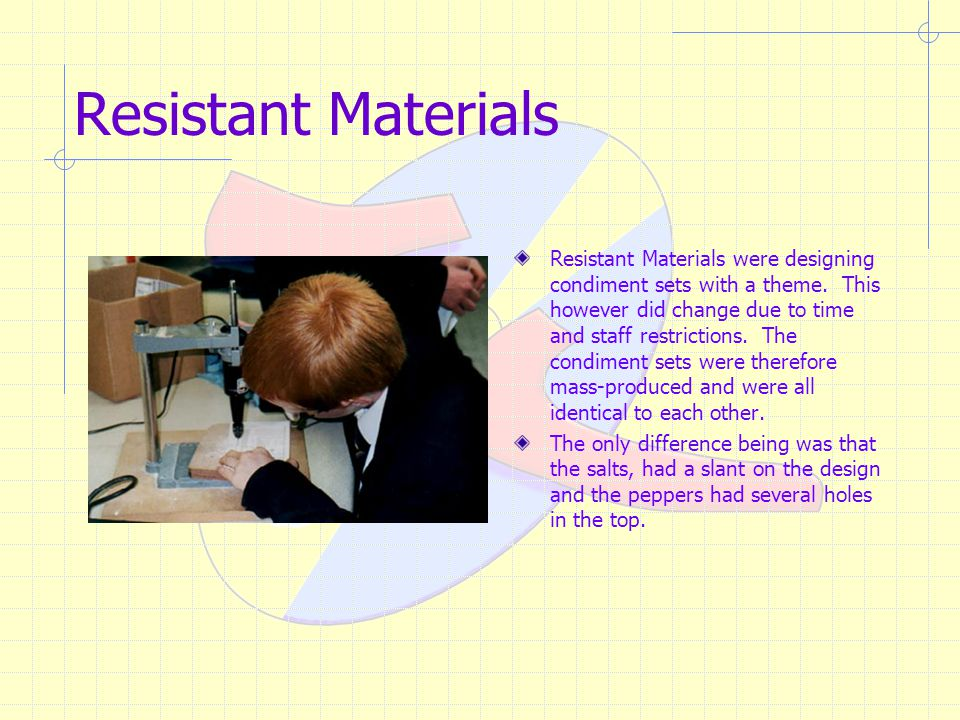 Resistant Materials Resistant Materials were designing condiment sets with a theme.