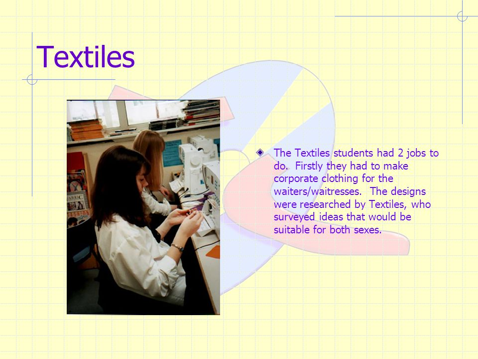 Textiles The Textiles students had 2 jobs to do.