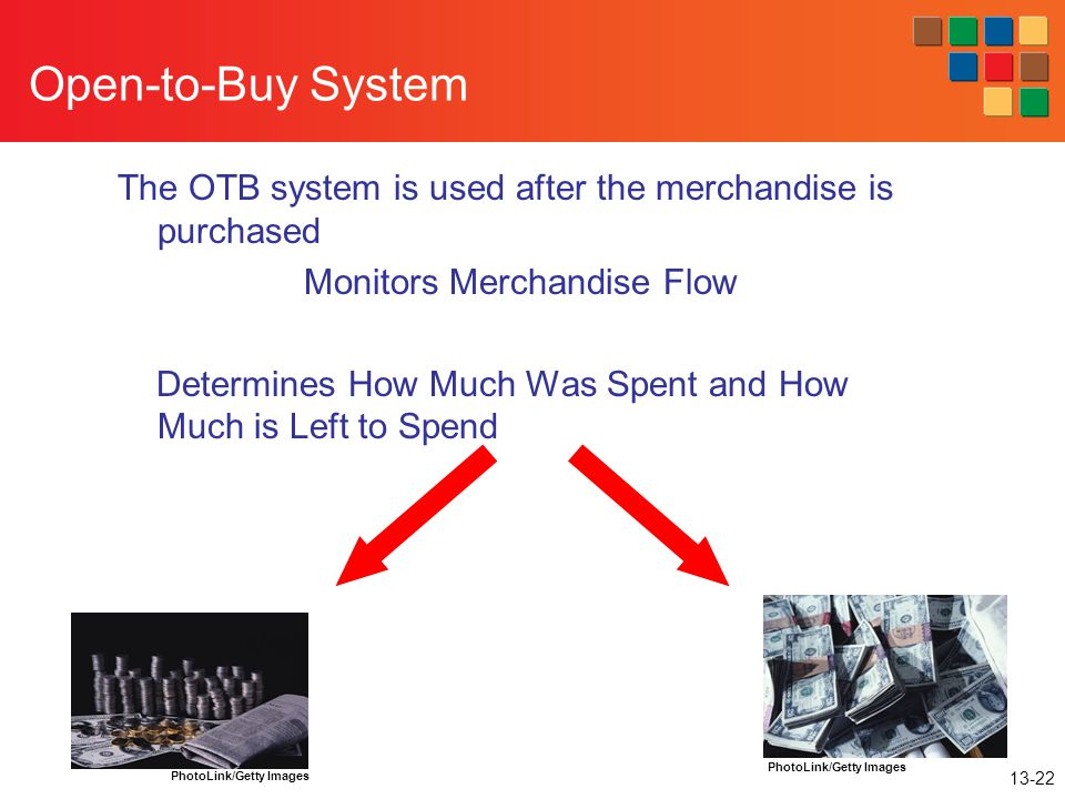 13-22 Open-to-Buy System The OTB system is used after the merchandise is purchased Monitors Merchandise Flow Determines How Much Was Spent and How Muc