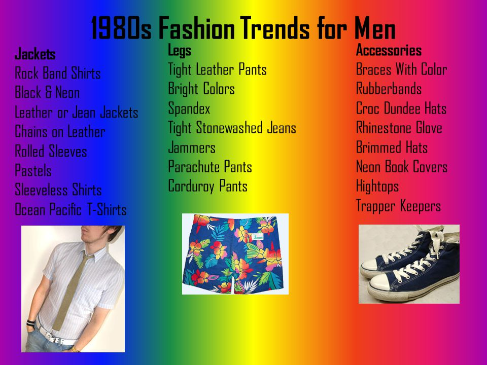 1980s Fashion Trends for Men Jackets Rock Band Shirts Black & Neon Leather or Jean Jackets Chains on Leather Rolled Sleeves Pastels Sleeveless Shirts