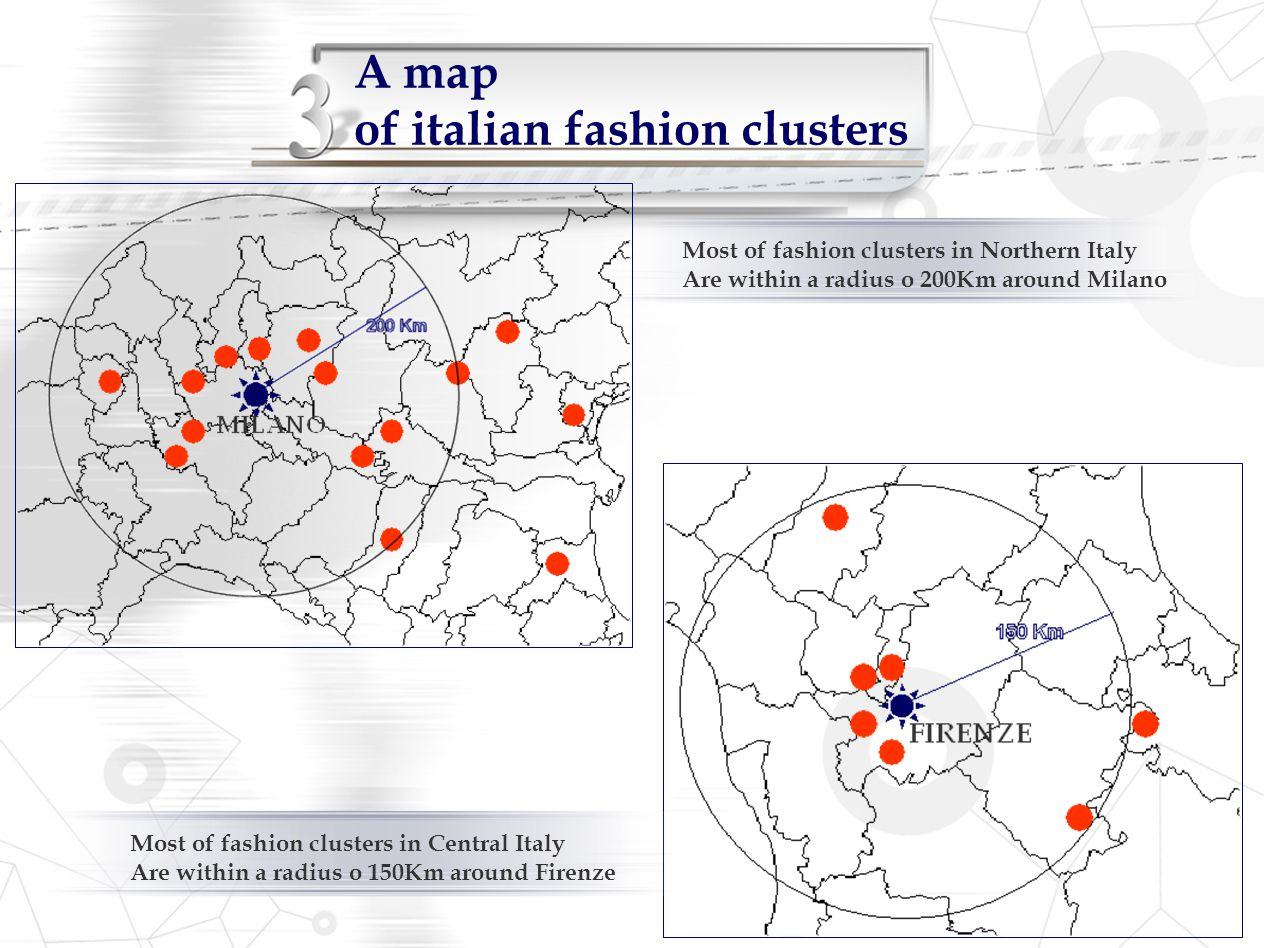 A map of italian fashion clusters Most of fashion clusters in Northern Italy Are within a radius o 200Km around Milano Most of fashion clusters in Cen