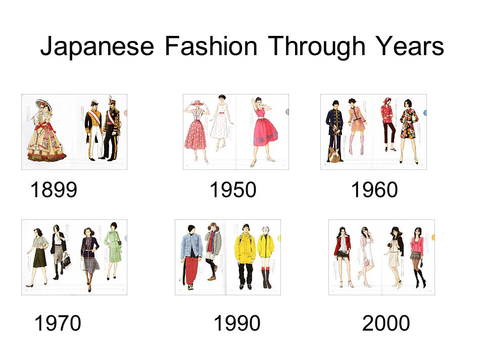 Japanese Fashion Through Years 1899 1950 1960 1970 1990 2000