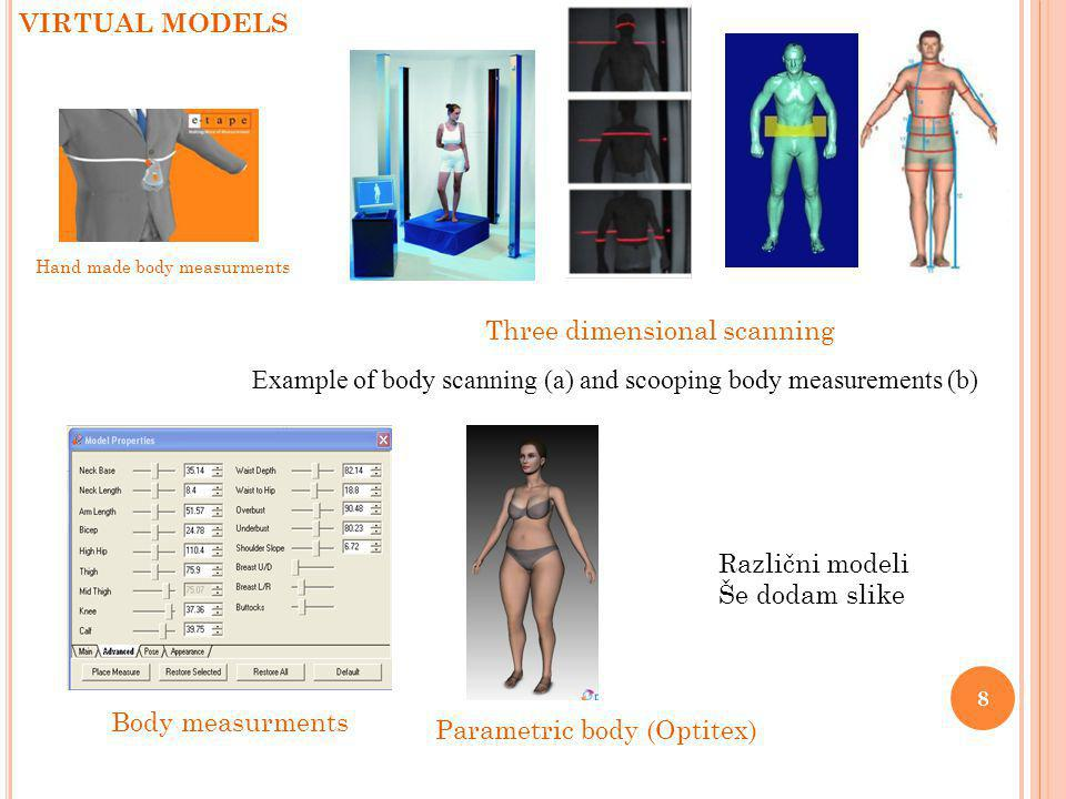 3.6.2014 8 VIRTUAL MODELS Parametric body (Optitex) Example of body scanning (a) and scooping body measurements (b) Three dimensional scanning Hand made body measurments Body measurments Različni modeli Še dodam slike