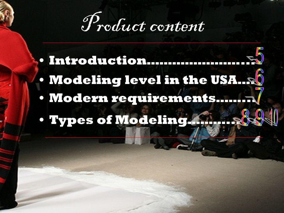 Product content Introduction………………….... Modeling level in the USA…. Modern requirements……... Types of Modeling………...