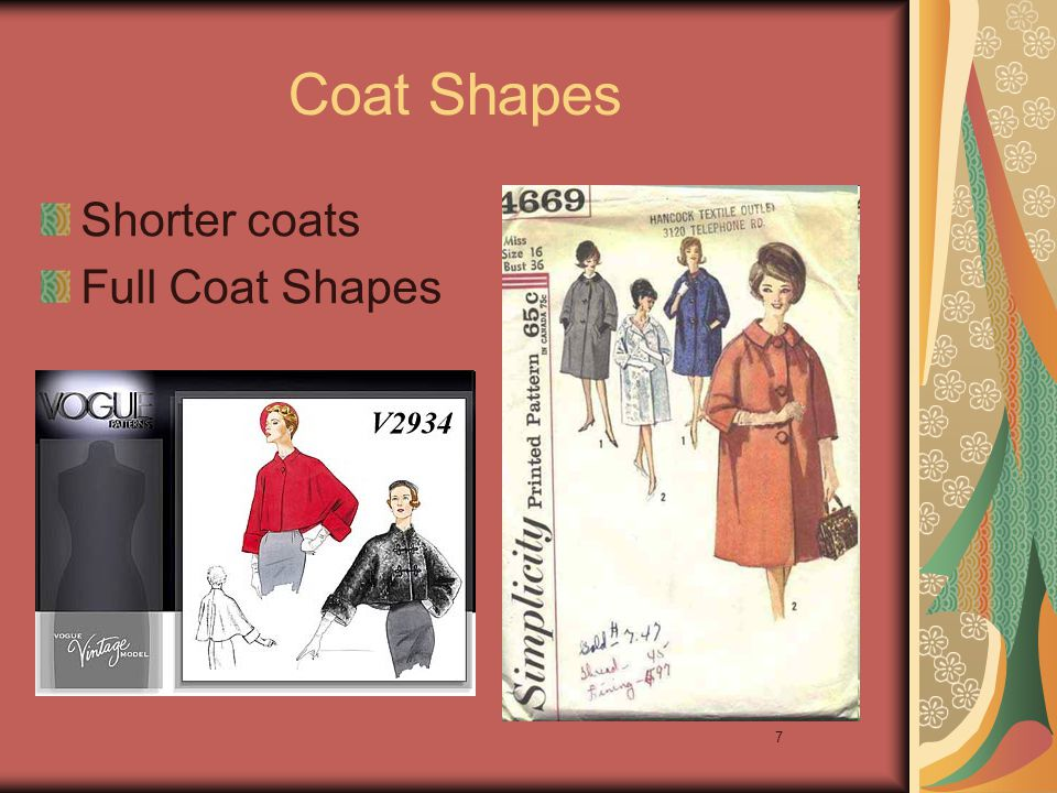 7 Coat Shapes Shorter coats Full Coat Shapes