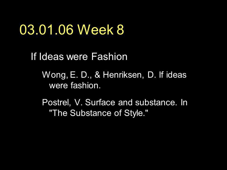 03.01.06 Week 8 If Ideas were Fashion Wong, E.D., & Henriksen, D.