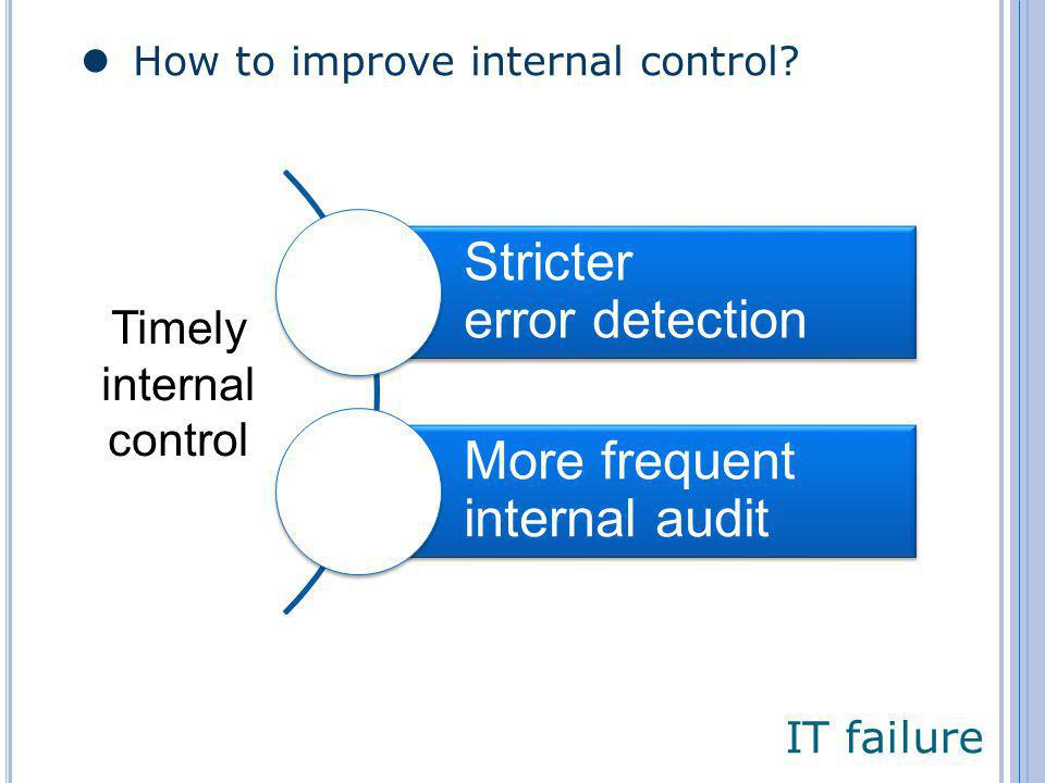 Stricter error detection More frequent internal audit Timely internal control IT failure How to improve internal control