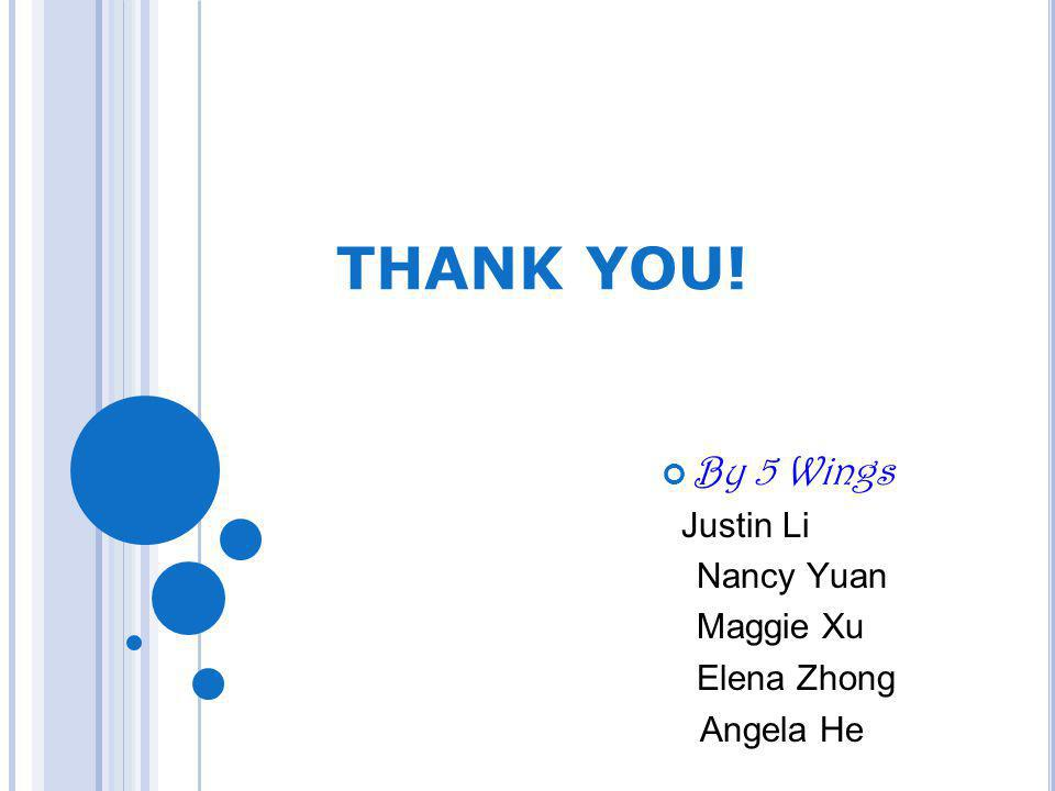 THANK YOU! By 5 Wings Justin Li Nancy Yuan Maggie Xu Elena Zhong Angela He