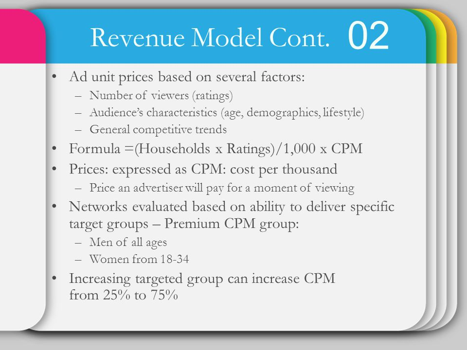 02 Revenue Model Cont. Ad unit prices based on several factors: –Number of viewers (ratings) –Audiences characteristics (age, demographics, lifestyle)