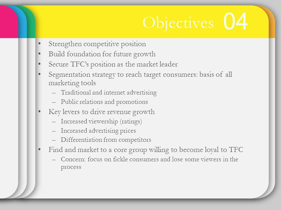 04 Objectives Strengthen competitive position Build foundation for future growth Secure TFCs position as the market leader Segmentation strategy to reach target consumers: basis of all marketing tools –Traditional and internet advertising –Public relations and promotions Key levers to drive revenue growth –Increased viewership (ratings) –Increased advertising prices –Differentiation from competitors Find and market to a core group willing to become loyal to TFC –Concern: focus on fickle consumers and lose some viewers in the process