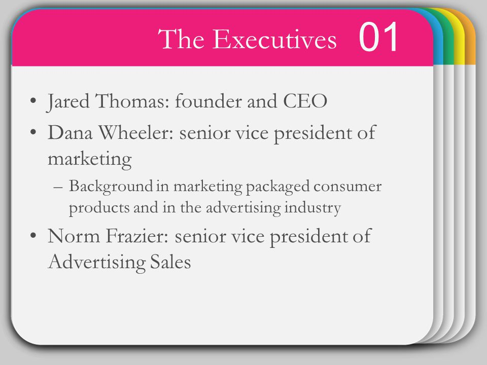 WINTER Template 01 The Executives Jared Thomas: founder and CEO Dana Wheeler: senior vice president of marketing –Background in marketing packaged consumer products and in the advertising industry Norm Frazier: senior vice president of Advertising Sales