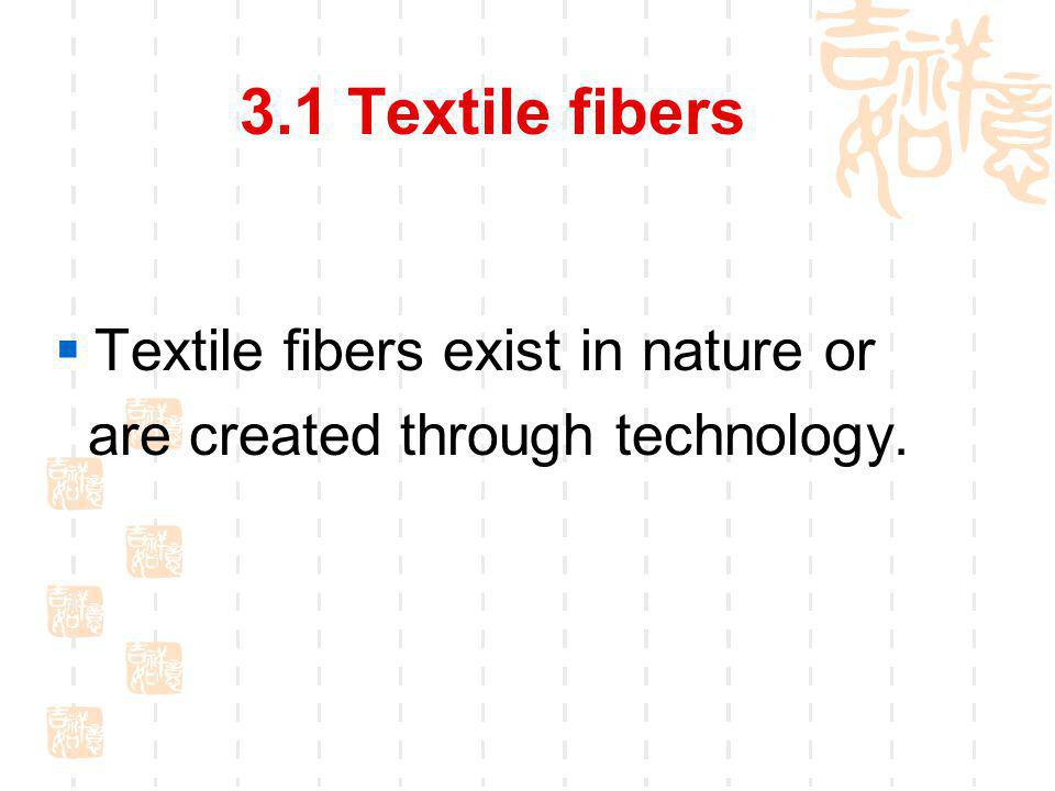 3.1.1 What is a textile fiber? Fiber is a long, thin strand of material.