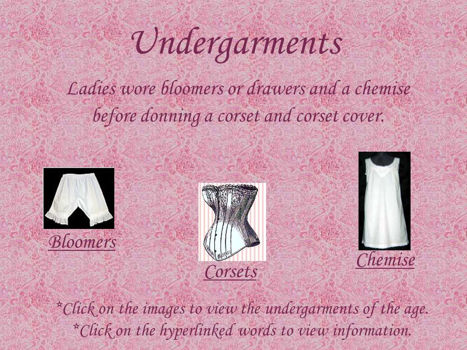 Table of Contents Undergarments Petticoats Day Ensembles Bodices and Skirts Hats Gloves Parasols Footwear Day Wear Reference List
