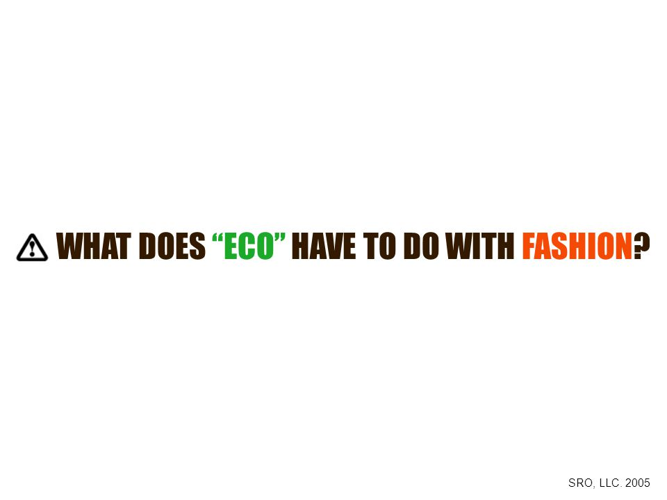 WHAT DOES ECO HAVE TO DO WITH FASHION SRO, LLC. 2005
