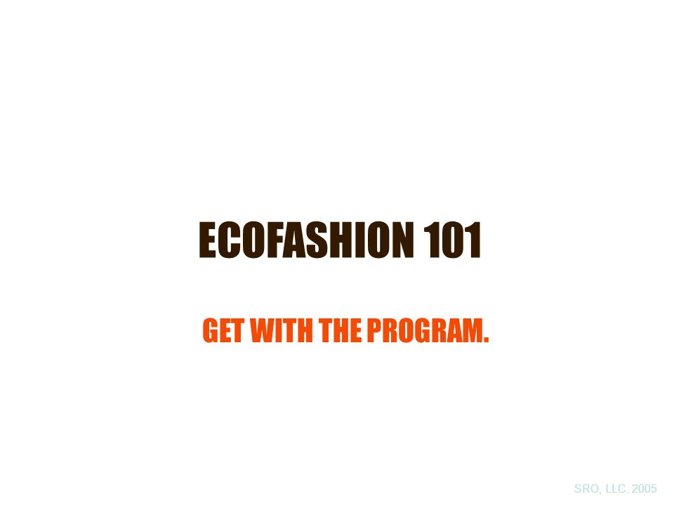 ECOFASHION 101 GET WITH THE PROGRAM. SRO, LLC. 2005