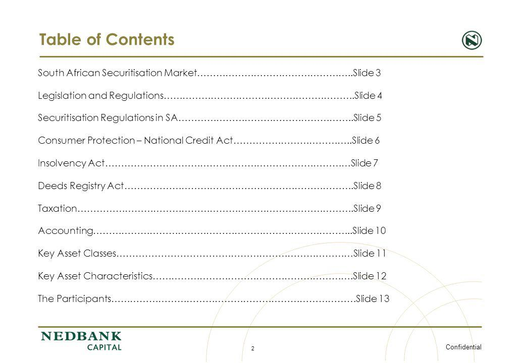 Confidential 2 Table of Contents South African Securitisation Market…………………………………………..Slide 3 Legislation and Regulations…………………………………………………….Slide 4