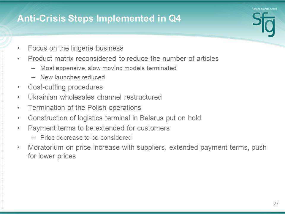 27 Anti-Crisis Steps Implemented in Q4 Focus on the lingerie business Product matrix reconsidered to reduce the number of articles –Most expensive, slow moving models terminated –New launches reduced Cost-cutting procedures Ukrainian wholesales channel restructured Termination of the Polish operations Construction of logistics terminal in Belarus put on hold Payment terms to be extended for customers –Price decrease to be considered Moratorium on price increase with suppliers, extended payment terms, push for lower prices