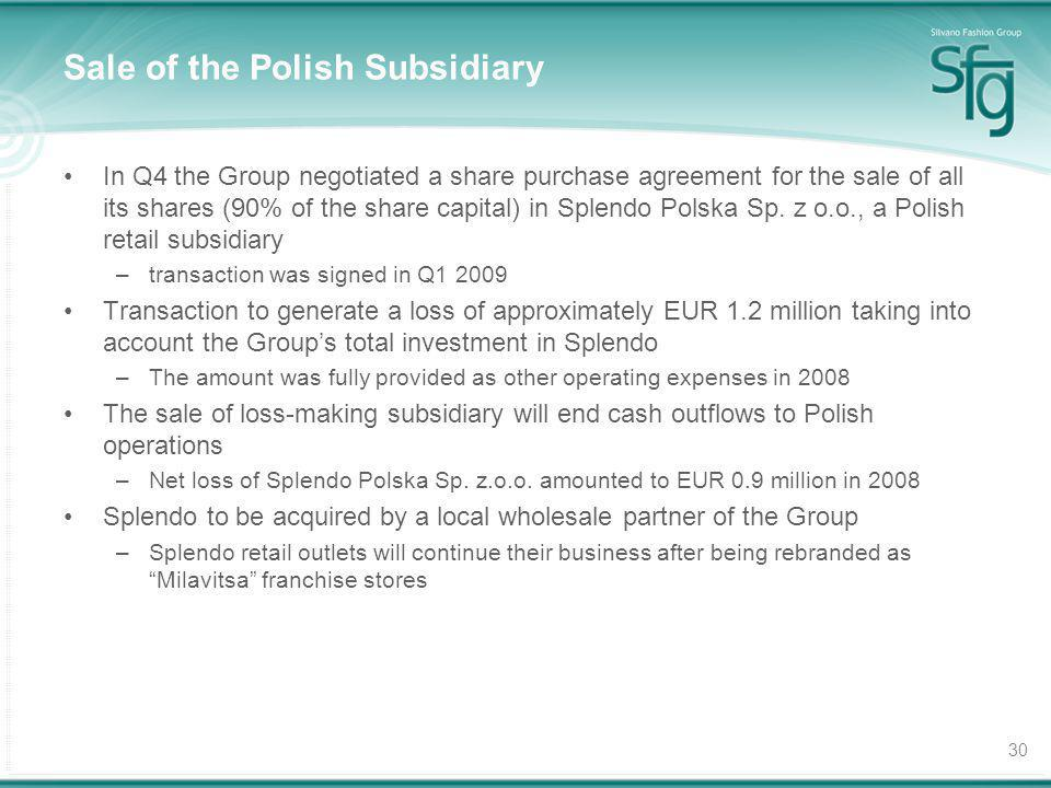 30 Sale of the Polish Subsidiary In Q4 the Group negotiated a share purchase agreement for the sale of all its shares (90% of the share capital) in Sp