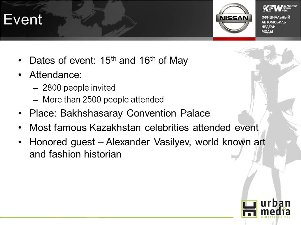 Event Dates of event: 15 th and 16 th of May Attendance: –2800 people invited –More than 2500 people attended Place: Bakhshasaray Convention Palace Most famous Kazakhstan celebrities attended event Honored guest – Alexander Vasilyev, world known art and fashion historian