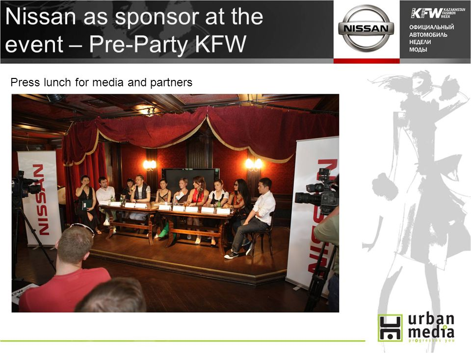 Nissan as sponsor at the event – Pre-Party KFW Press lunch for media and partners