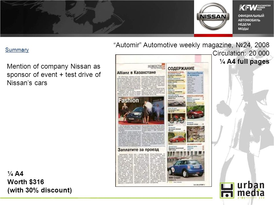 Automir Automotive weekly magazine, 24, 2008 Circulation: 20 000 ¼ A4 full pages Summary ¼ A4 Worth $316 (with 30% discount) Mention of company Nissan as sponsor of event + test drive of Nissans cars