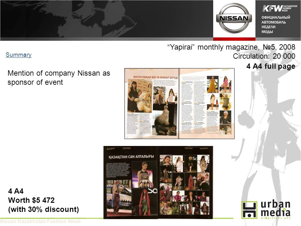 Yapirai monthly magazine, 5, 2008 Circulation: 20 000 4 A4 full page Summary 4 A4 Worth $5 472 (with 30% discount) Mention of company Nissan as sponsor of event Nissan Kazakhstan Fashion Week