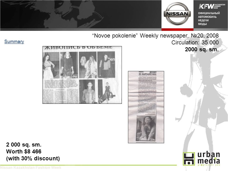 Novoe pokolenie Weekly newspaper, 20, 2008 Circulation: 35 000 2000 sq.