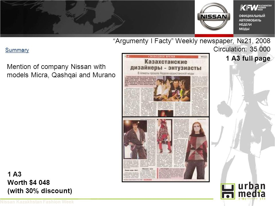 Argumenty I Facty Weekly newspaper, 21, 2008 Circulation: 35 000 1 A3 full page Summary 1 A3 Worth $4 048 (with 30% discount) Mention of company Nissan with models Micra, Qashqai and Murano Nissan Kazakhstan Fashion Week