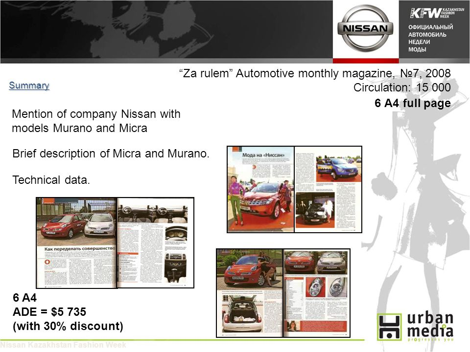Za rulem Automotive monthly magazine, 7, 2008 Circulation: 15 000 6 A4 full page Summary 6 A4 ADE = $5 735 (with 30% discount) Mention of company Nissan with models Murano and Micra Nissan Kazakhstan Fashion Week Brief description of Micra and Murano.